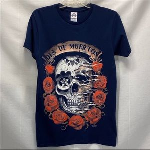 T Shirt Day Of The Dead Skull Tee Rose Blue